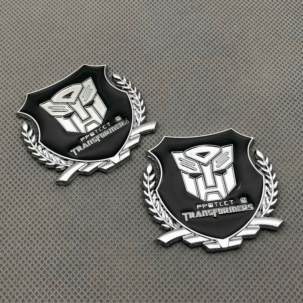 Details about 2pcs chrome metal fender transformers autobots logo emblem rear lid trunk badge