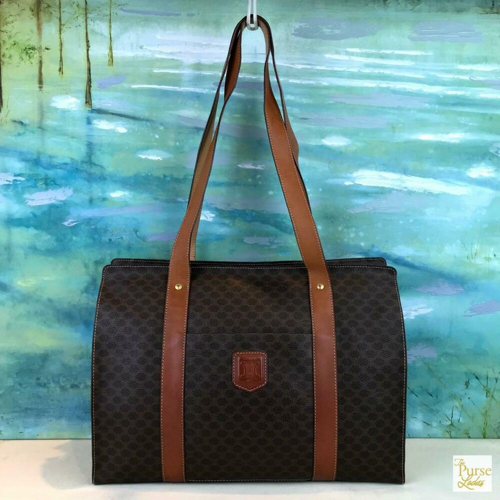 ae70e6fa2074 Details about  630 CELINE Brown Macadam Coated Canvas Leather Front Pocket  Tote Bag Zip SALE!