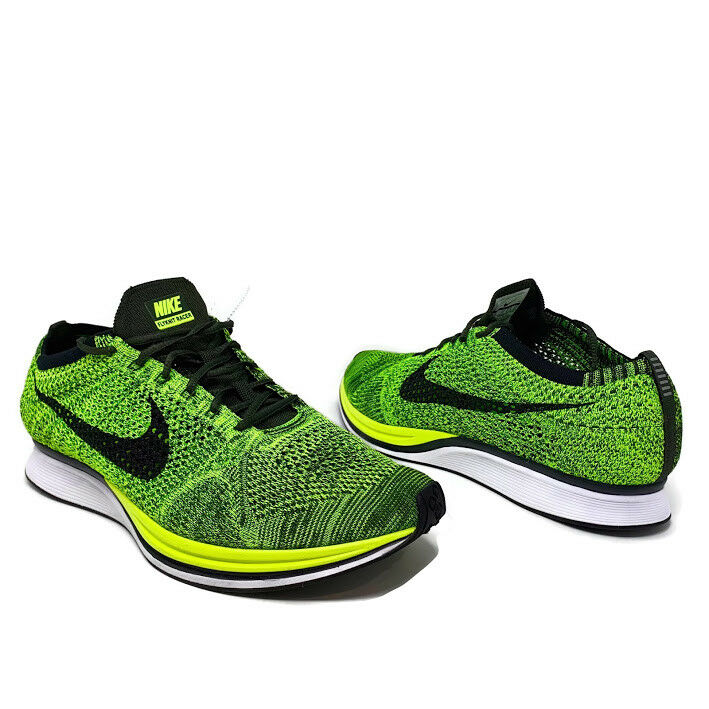 discount 95ec2 72e14 Details about Nike Flyknit Racer Men s Sz 13 Volt Green Black Walking  Running Shoes 526628-731