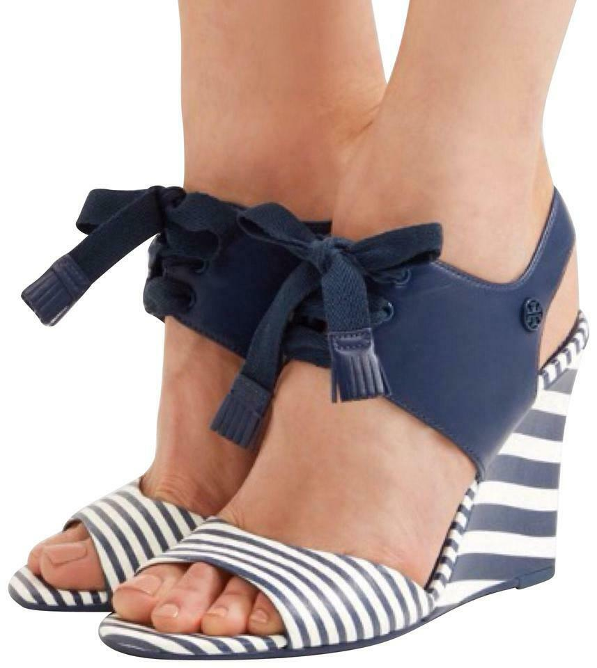 003432314 Details about Tory Burch Wedge Sandals MARITIME Striped Espadrilles Navy Blue  Leather 10 Shoes