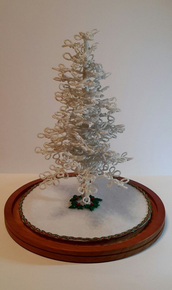 Westrim Beaded Mini Christmas Tree White Ready To Decorate With