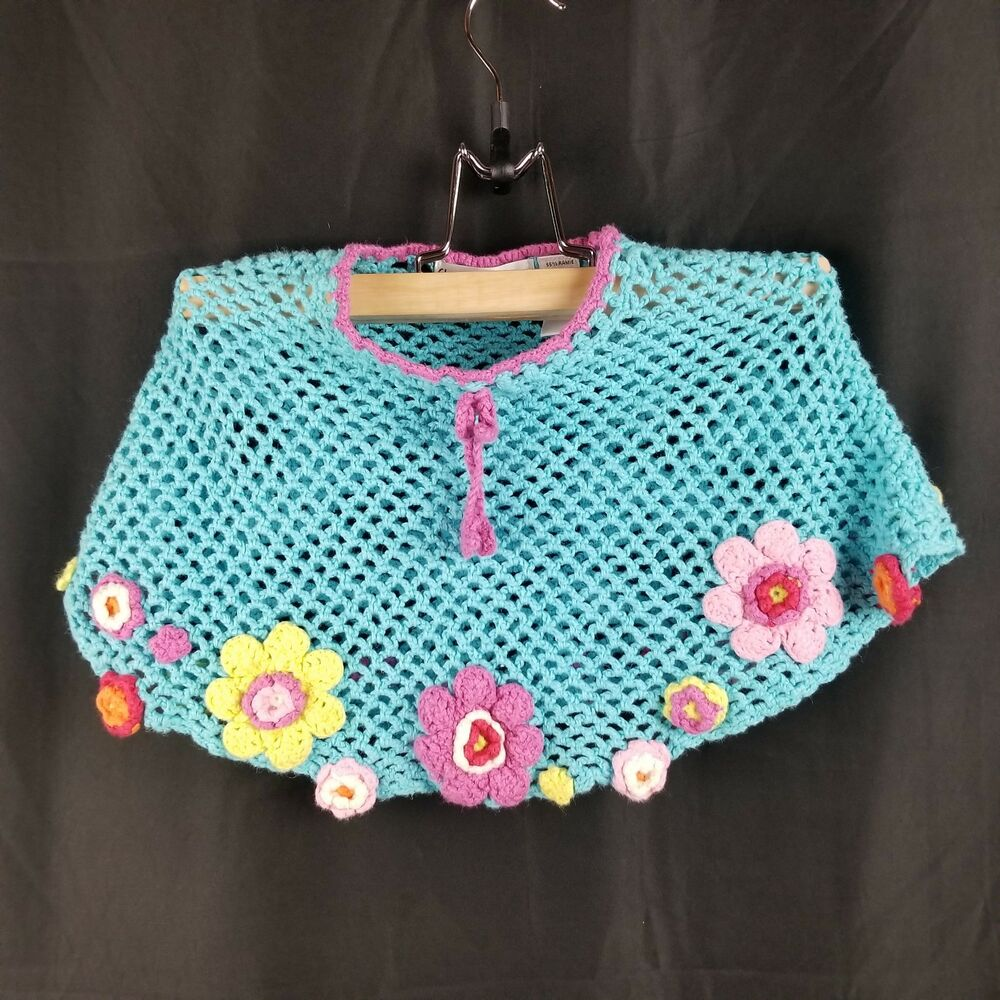 Flapdoodles Girls Poncho Size 12m Blue Crochet Floral Baby Toddler