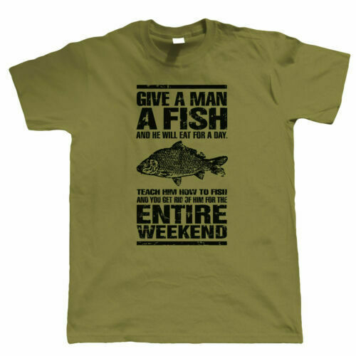 07b5e3a9 Details about Give A Man A Fish Funny Carp Fishing T Shirt - Angling Gift  For Dad Grandad Him