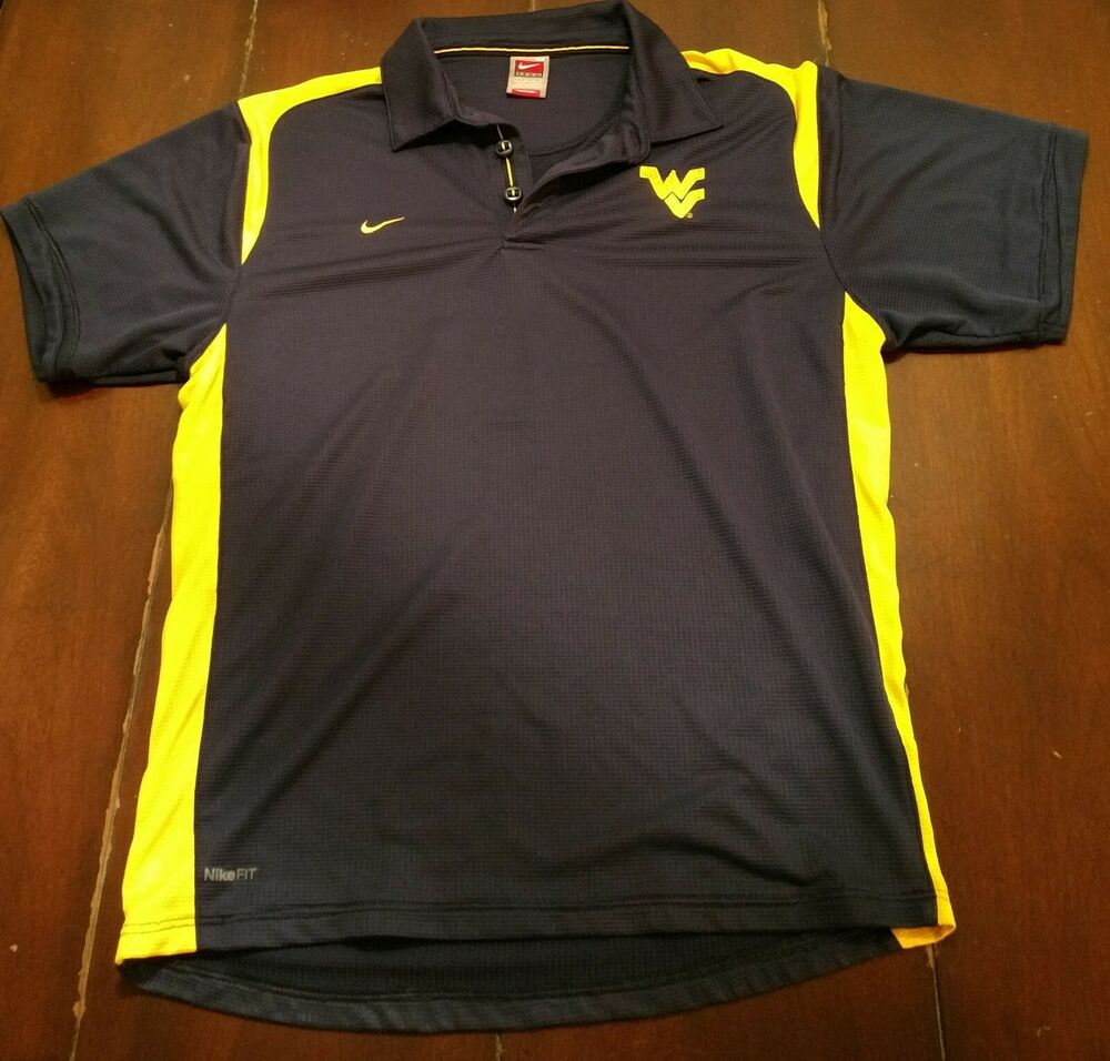 8e6fcac2e1b0 Details about NCAA West Virginia Mountaineers Nike Dri Fit Polo Mens Medium  Blue