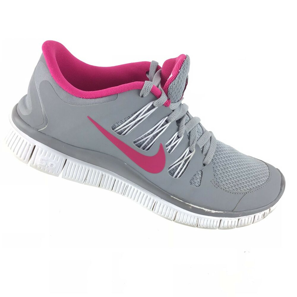d8d98516a33c Details about Nike Free 5.0 Womens Gray Pink White Athletic Running Lace Up  Shoes R5S4