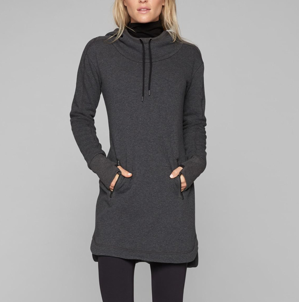 8fa7d0ef333 Details about ATHLETA CHARCOAL THUMBHOLES LONG SLEEVE SOFT COZY CARMA  HOODIE DRESS Sz XL