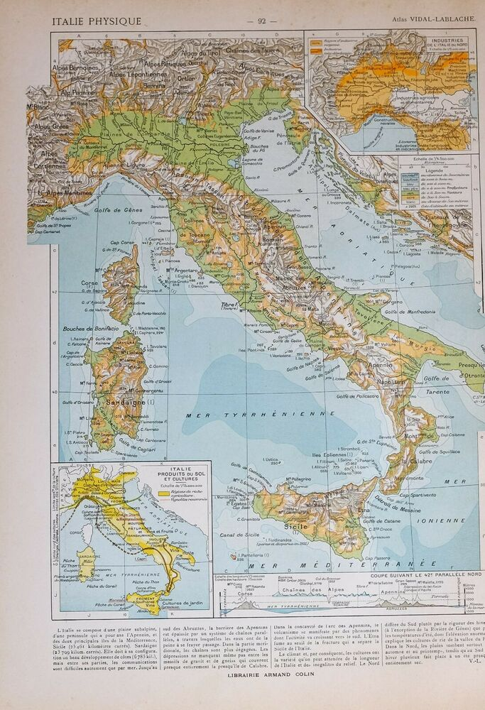1913 Map Italy Physical Tuscany Lombardy Apennine Napolitain ...