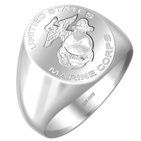 img-New Men's Sterling Silver 0.925 US Marine Corps USMC Military Signet Ring