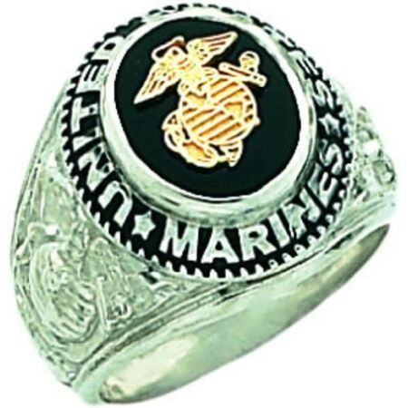 img-New Men's 0.925 Sterling Silver US Marines USMC Military Solid Back Ring