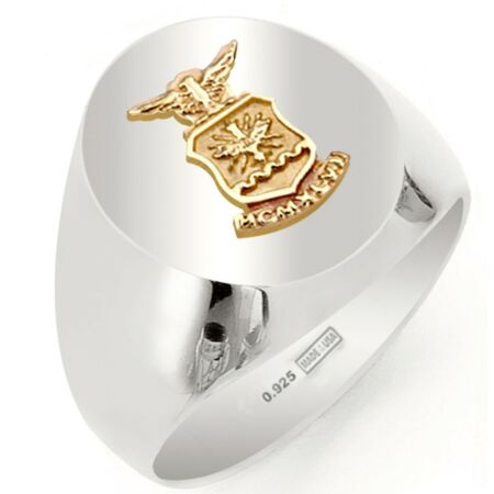 img-0.925 Sterling Silver Vermeil Army, Air Force, Marines or Navy Solid Back Ring