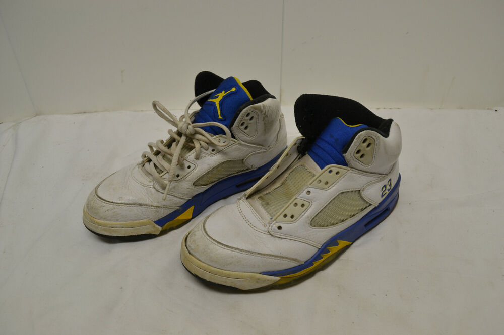 buy popular 2b454 dce6e Details about Nike Air Jordan 5 Retro Laney White Blue Yellow Shoes  Sneakers 136027-189 Sz 8