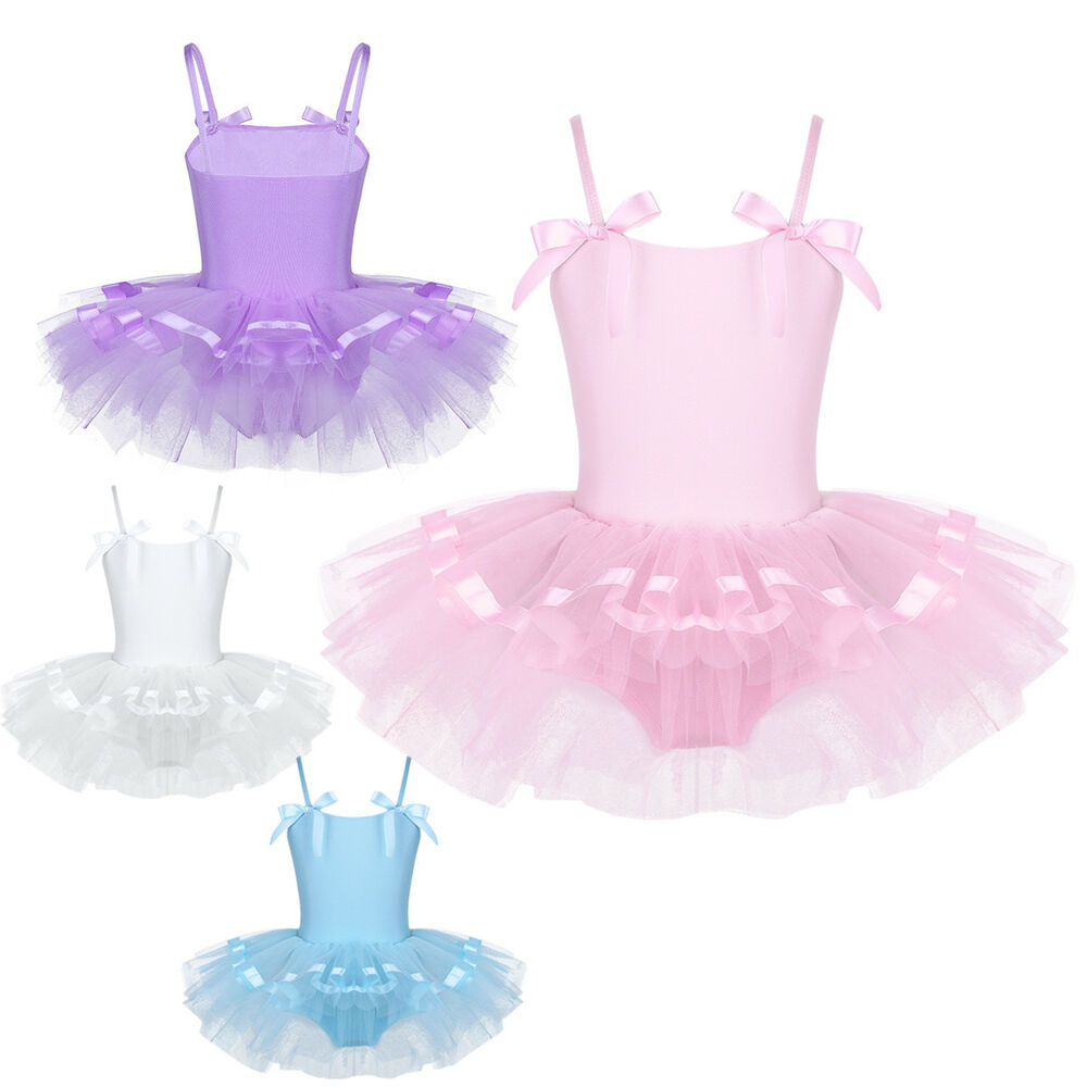 e784b9baba8e0 Details about Kid Girl Bowknots Straps Ballet Dance Gymnastics Leotard Tutu  Dress Costume 2-8Y