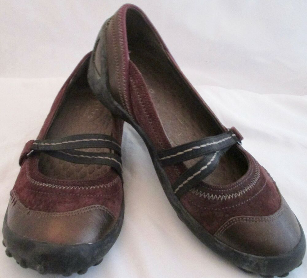 72b2392f52b Details about Privo By Clarks Women s Size 7 M Brown Leather Suede Mary  Jane Shoes Flats