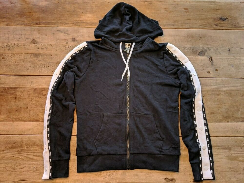 5f29517949c Details about VS PINK VICTORIA S SECRET BLACK WHITE LOGO SNAP SLEEVE  PERFECT FULL ZIP HOODIE!!
