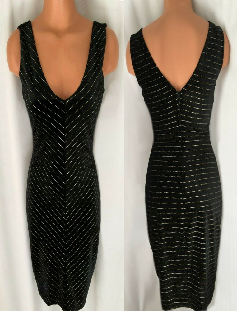 cad8f3bf Details about GUESS BLACK VELVET GOLD METALLIC STRIPE SLEEVELESS DRESS SIZE  4 NEW WITH TAG