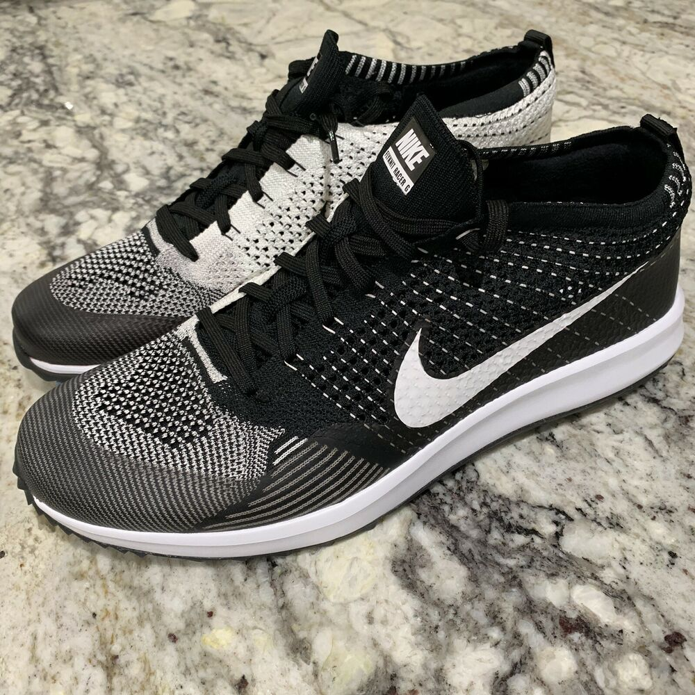 innovative design 17783 f4c4a Details about NIKE FLYKNIT RACER G GOLF SHOES BLACK-WHITE SZ 13 OREO RARE!!   909756-001