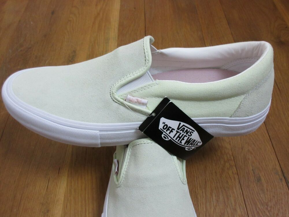 4ca01963a7 Details about Vans Mens Slip on Pro Ambrosia Green White Suede Canvas Skate  shoes Size 12 NWT