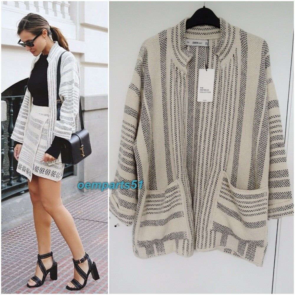 62291e5a86c Details about ZARA KNIT ECRU BLACK JACQUARD JACKET CARDIGAN WITH POCKETS  SIZE S M