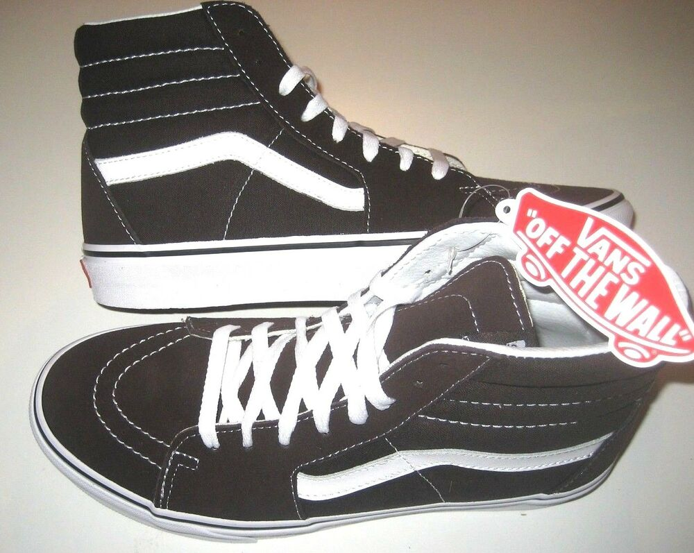 7ffcd049cc Details about Vans Mens Sk8-Hi Chocolate Torte True White Canvas Suede  Skate shoes Size 7 NWT
