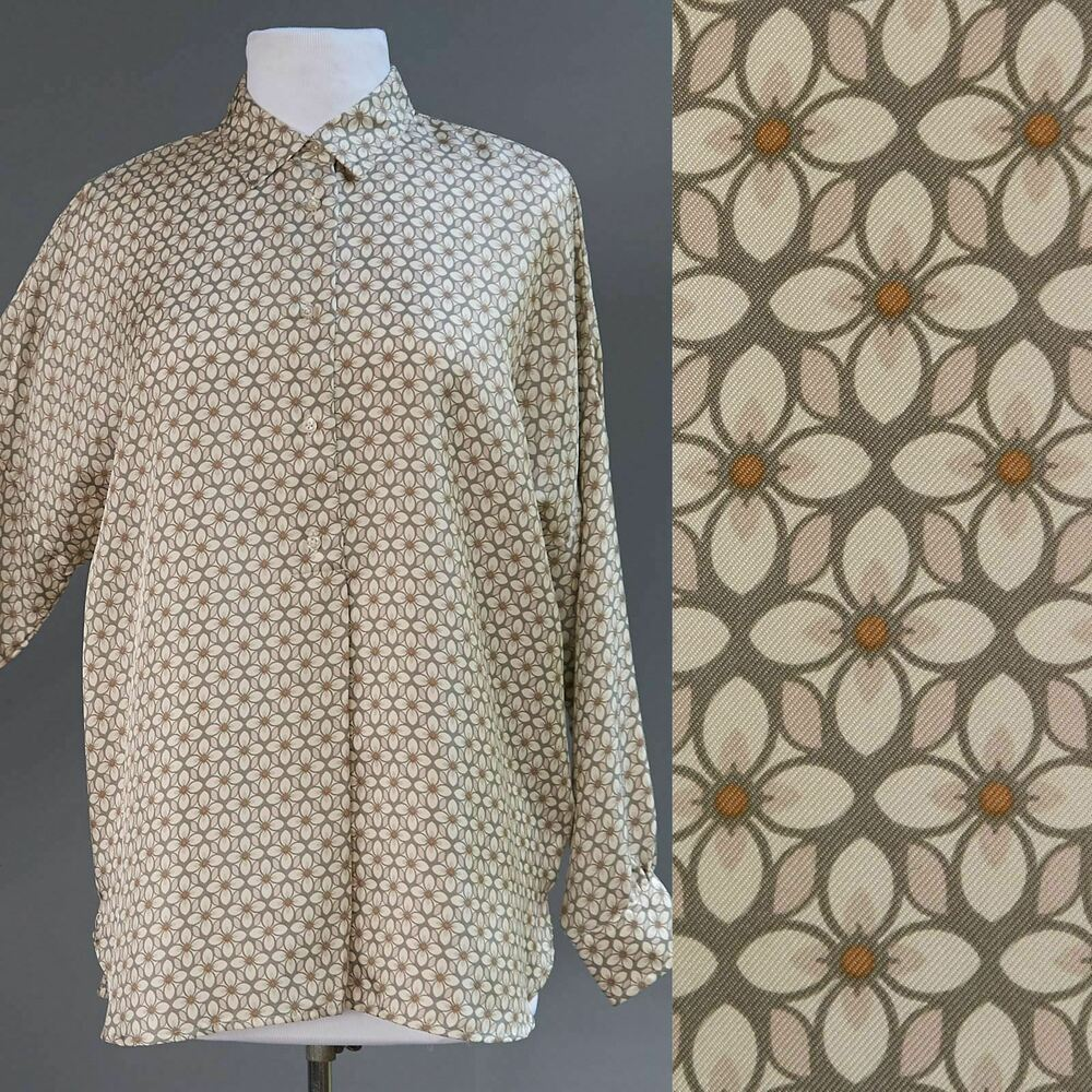 12c2039b49972f Details about 0039 Italy 100% Thick Scarf Silk Art Deco Geometric Floral Tunic  Top Blouse S M