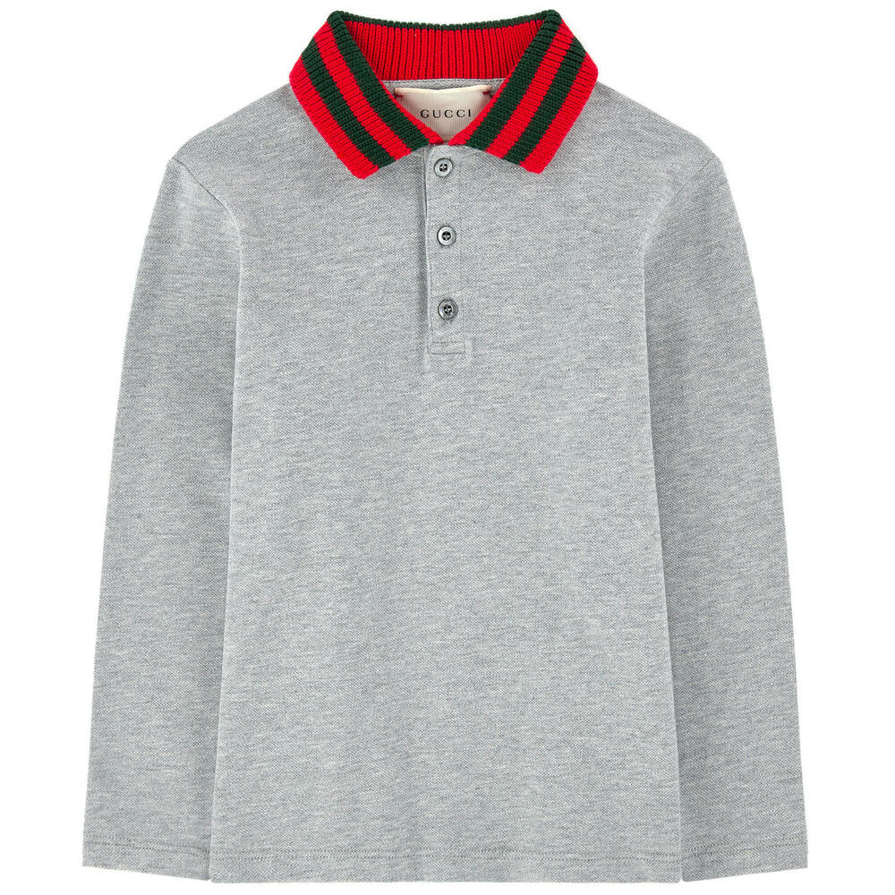 f1760860c Details about NWT NEW Gucci boys navy blue gray polo red web collar 4 5 6  10 12y 440302