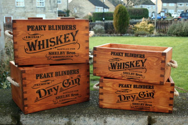 PEAKY BLINDERS  WOODEN VINTAGE RUSTIC STYLE WHISKEY GIN STORAGE BOXES CRATE TRUG