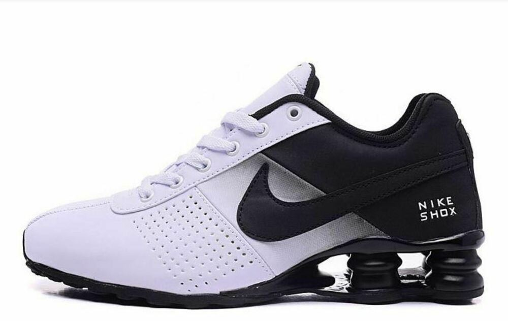 the latest 9f674 44440 Details about MENS BLACK AND WHITE NIKE SHOX ATHLETIC RUNNING SHOES SIZES  7-11
