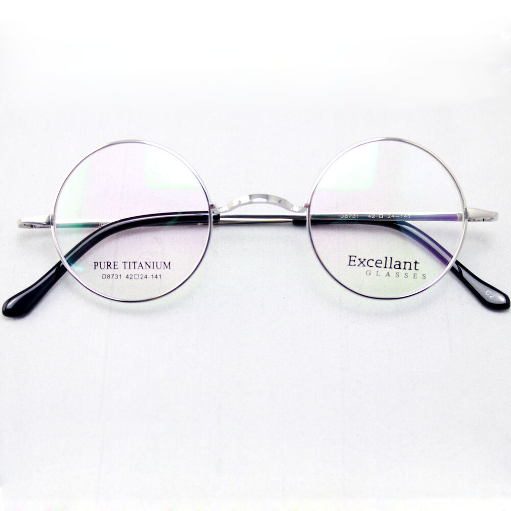 aeff746a8e Details about Agstum 42mm Luxury Titanium Round Harry Potter Vintage  Eyeglass Frame RX Clear
