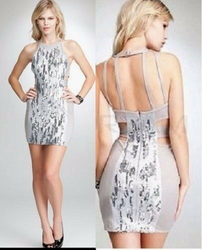 95076275 Details about NWT bebe silver sequin textured halter open cutout back top  dress S small club