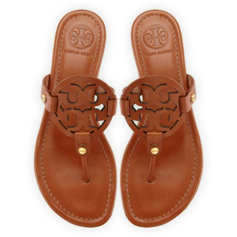 e51520f00 Details about NIB Tory Burch Miller Leather Logo Flat Slide Sandal VINTAGE  VACHETTA BROWN TAN