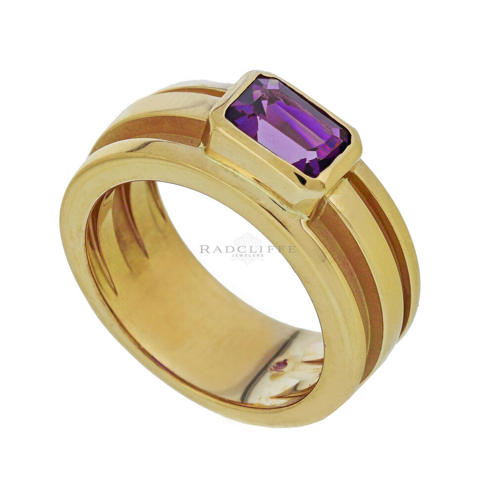 8ffd36850 Details about Tiffany & Co. Emerald Cut Bezel Set Amethyst Ring, 18k Yellow  Gold, Size 6.25