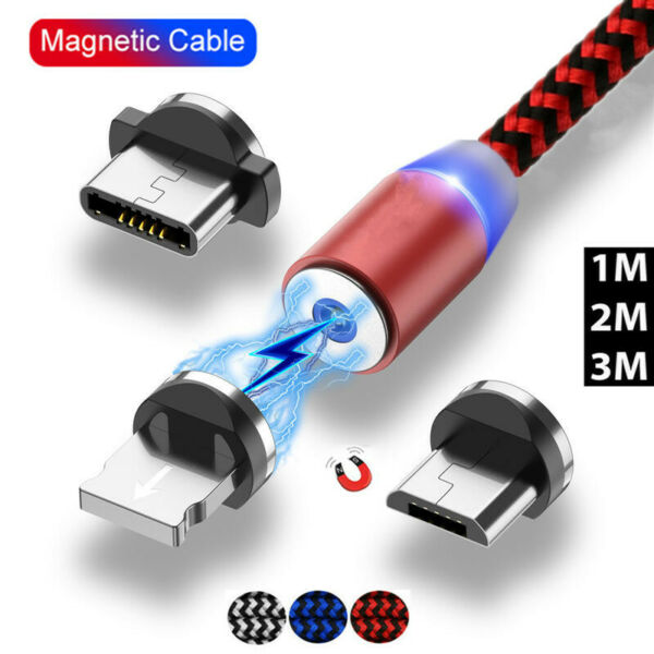 LED Magnetic Cable & Micro USB Cable & USB Type C Cable Nylon Braided Charger