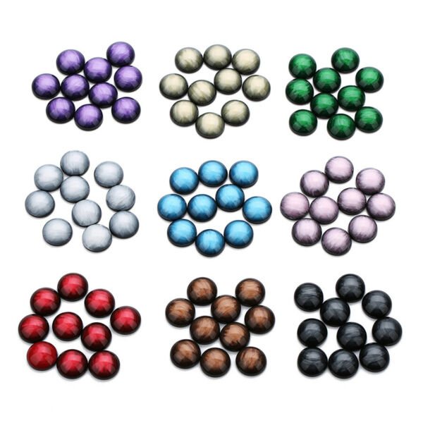 30pcs Natural Stone Flat Back Resin Cabochon Beads Round 12mm For Jewelry Making