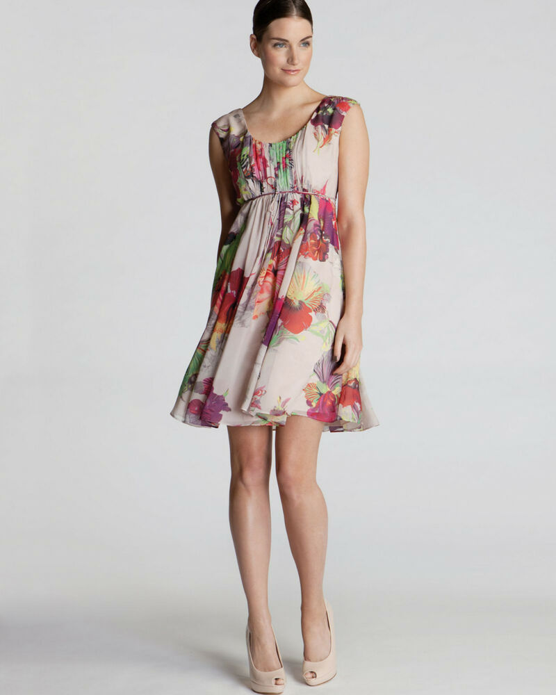 6477f9fc74 Details about TED BAKER Treasured Orchid pink floral print fit & flare full skirt  dress 1 8 XS