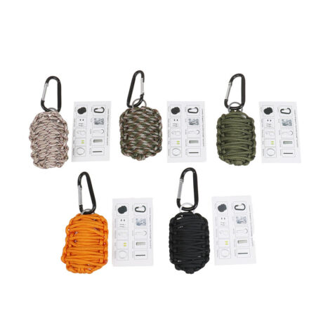 img-1pcs paracord survival carabiner fishing kit with sharp eye knife dark color LU