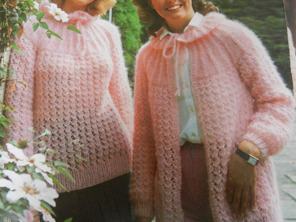Knitting Pattern Womens Ladies Mohair Cardigan And Jumper 32 40
