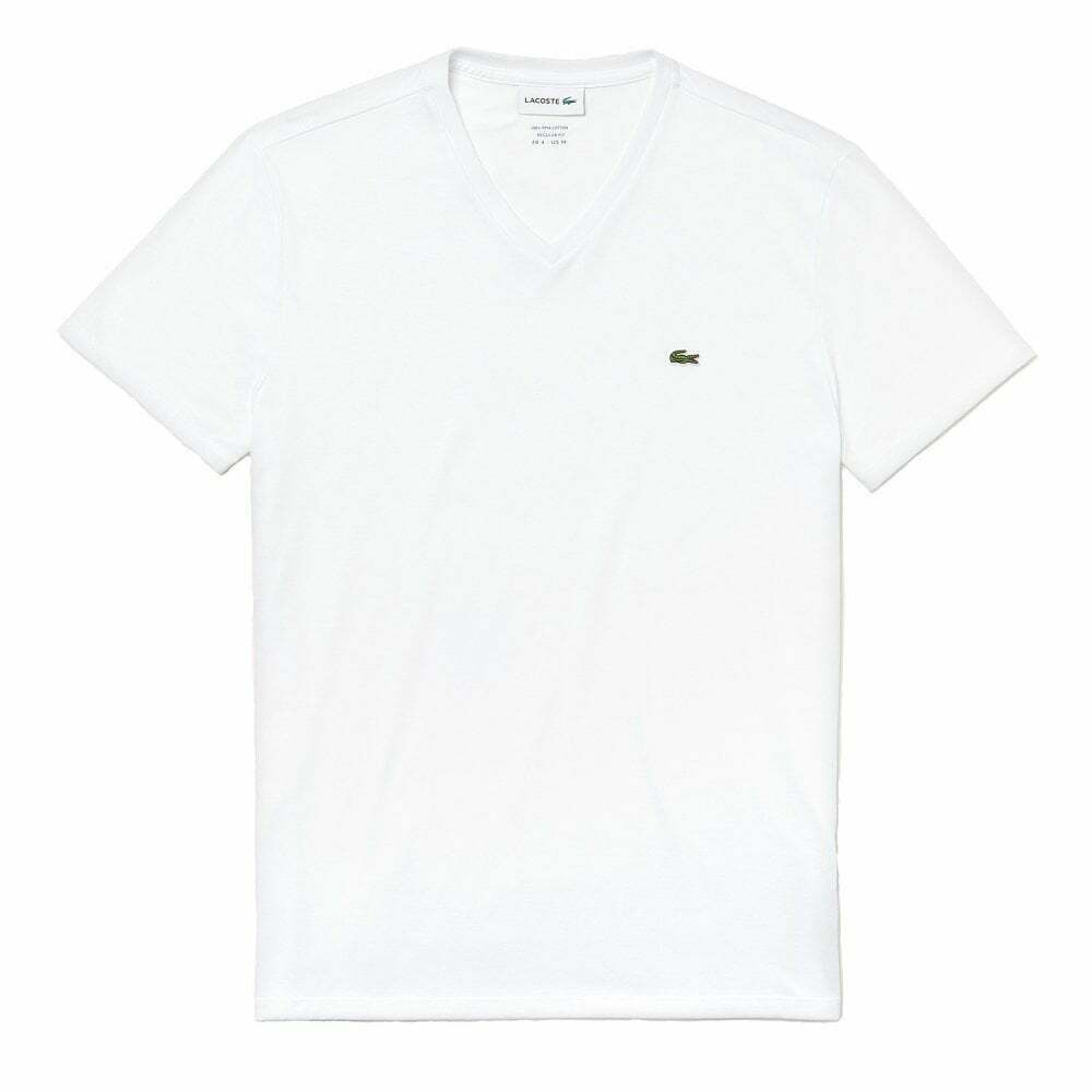 c6df4f097 Details about Lacoste V-Neck Pima Cotton Jersey T-shirt
