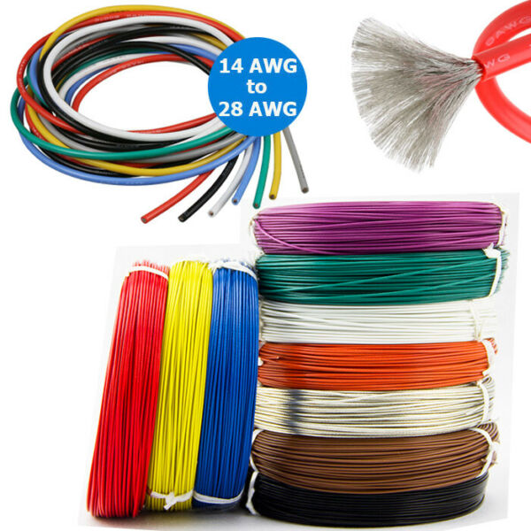 14 AWG ~ 28AWG Silicone Wire Cable Copper Line Tinned Flexible Stranded 5M 10M