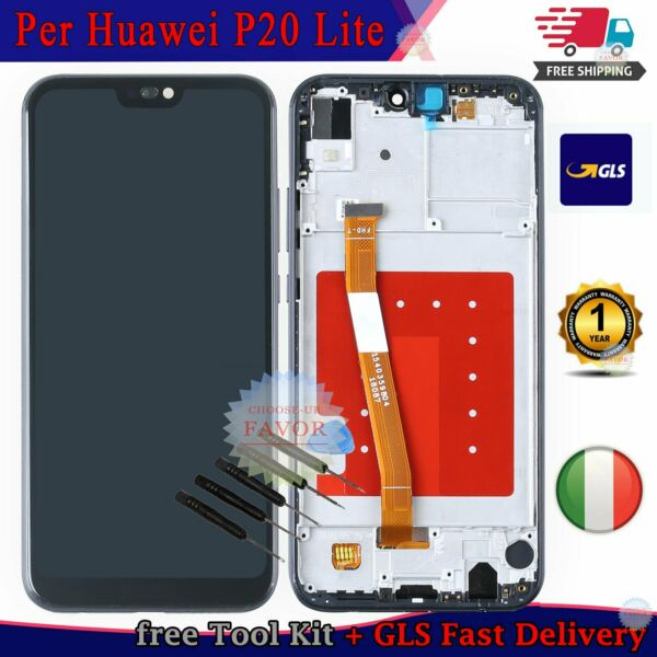LCD Display Per Huawei P20 Lite ANE-LX1 Touch Schermo Assembly + Frame Nero