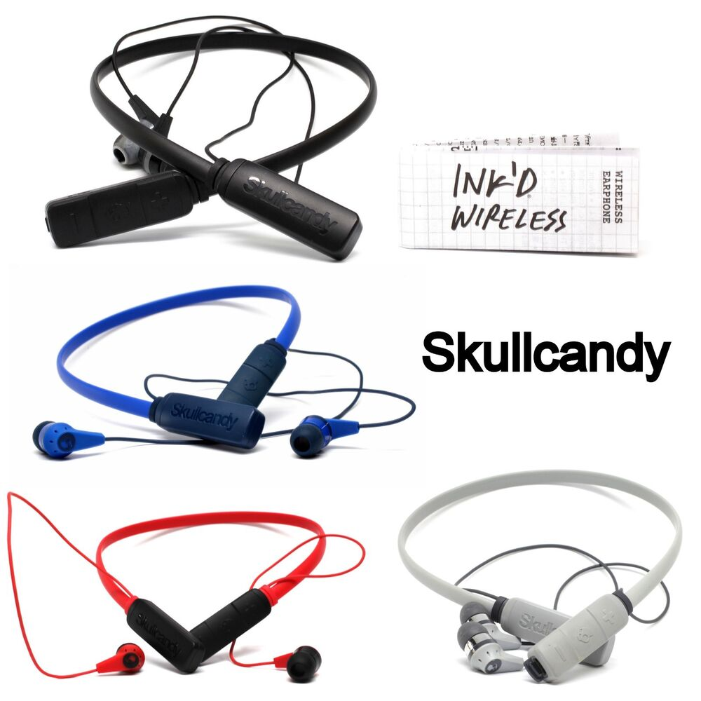 a822d90c01a Details about Skullcandy Ink'd Wireless Bluetooth Earphones with Mic White  Red Black Blue New