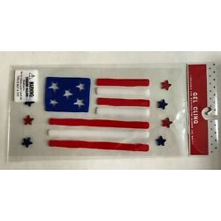 Patriotic American flag Window Gel Stickers Clings 4th of July decor