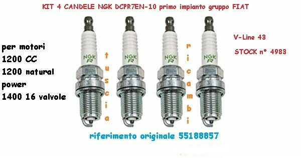 4 candele NGK DCPR7E-N-10 FIAT Panda 169 NATURAL POWER FIAT TIPO = 55188857 LPG