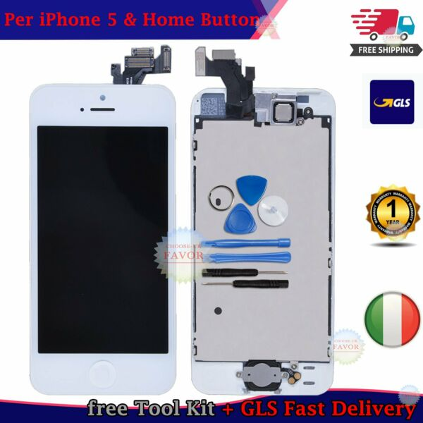 TOUCH SCREEN LCD DISPLAY PER IPHONE 5 VETRO SCHERMO BIANCO + FRAME HOME BUTTON