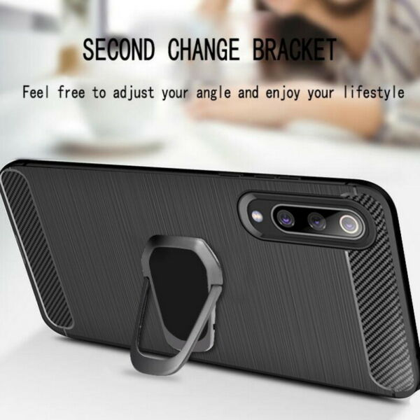 For Xiaomi Redmi Note 8T 7 6 9 Pro Magnetic Finger Stand Carbon Fiber Case Cover
