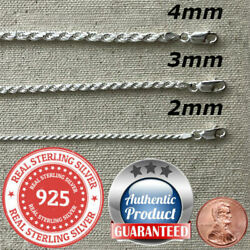 Kyпить 925 Sterling Silver real Italian Silver solid Rope Chain Mens  womans  Necklace  на еВаy.соm