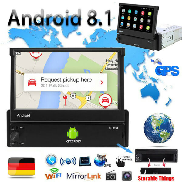 Android 8.1 GPS Navi Wifi Bluetooth Autoradio 7'' Touch Screen MP5 Player 1Din
