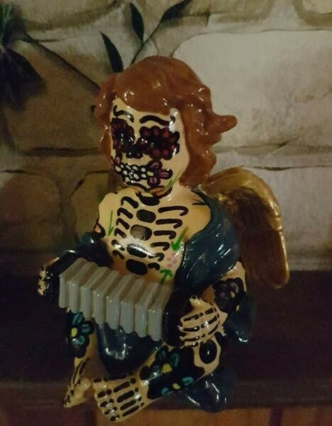 HANDMADE  ANGEL ORNAMENT  calavera mexican day of the dead