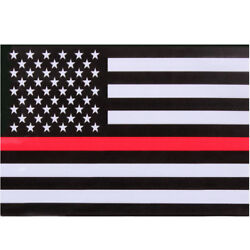 3 Pack Thin Red Line US American Flag Support Firefighters Decal Sticker TRL