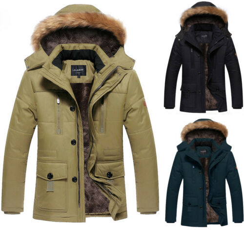 New Mens Winter Warm Zip UP Fleece Thick Trench Parka Jackets Coats Winter