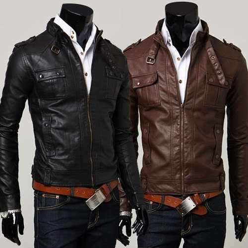 P215 New Mens Slim Fit Faux Leather Jackets Coats Color  Brown,Black US XS,S,M